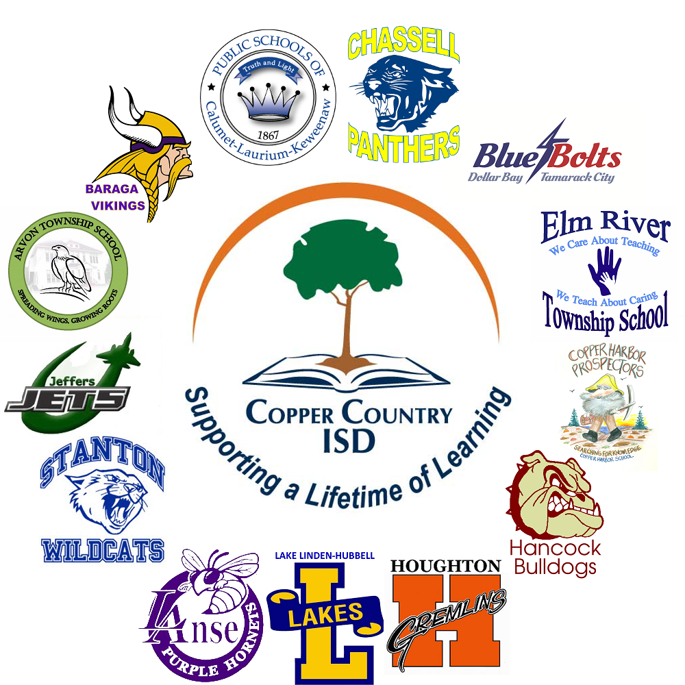 CCISD and all school logo's in a circular shape