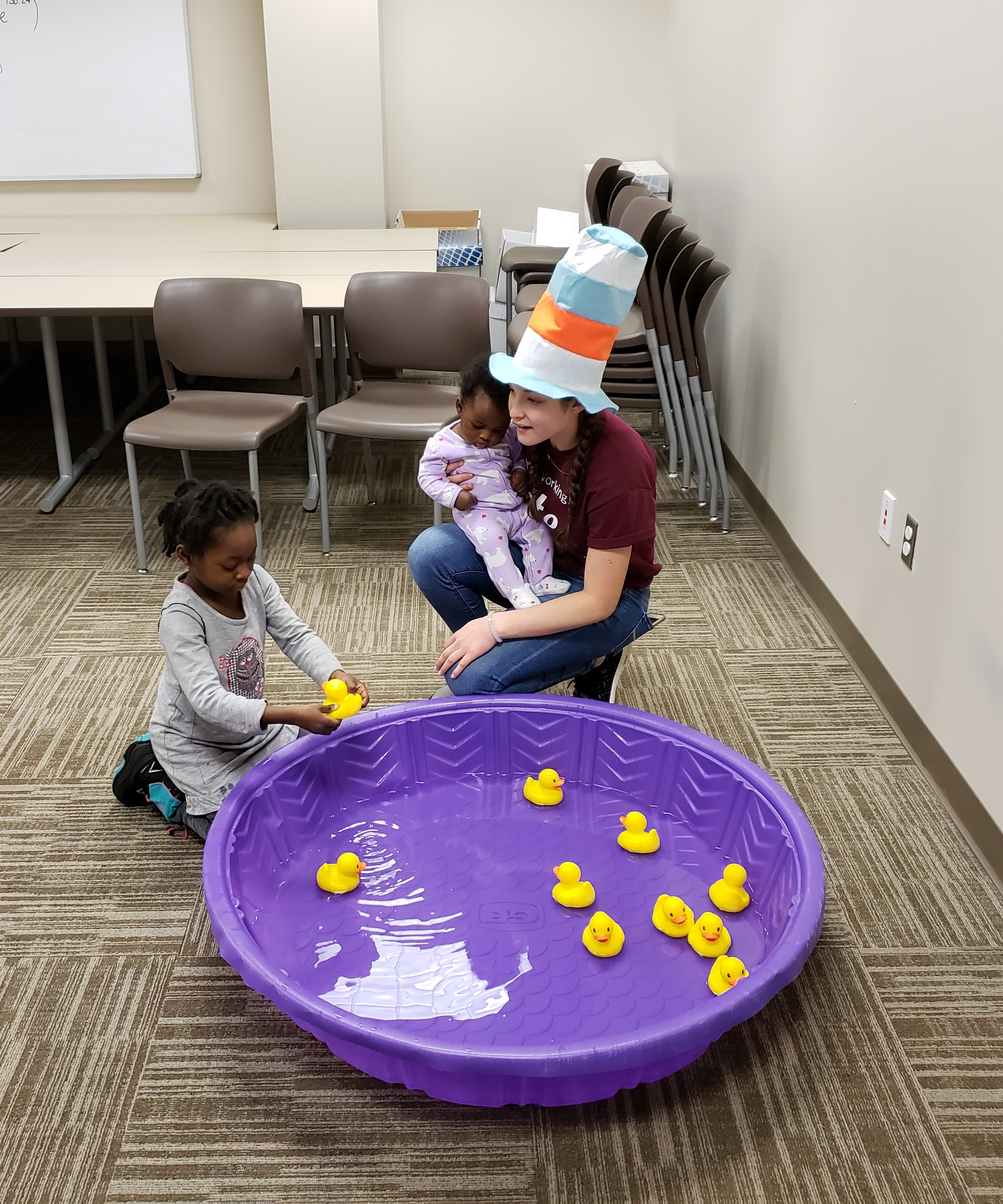 Rubber duckies in small wading pool