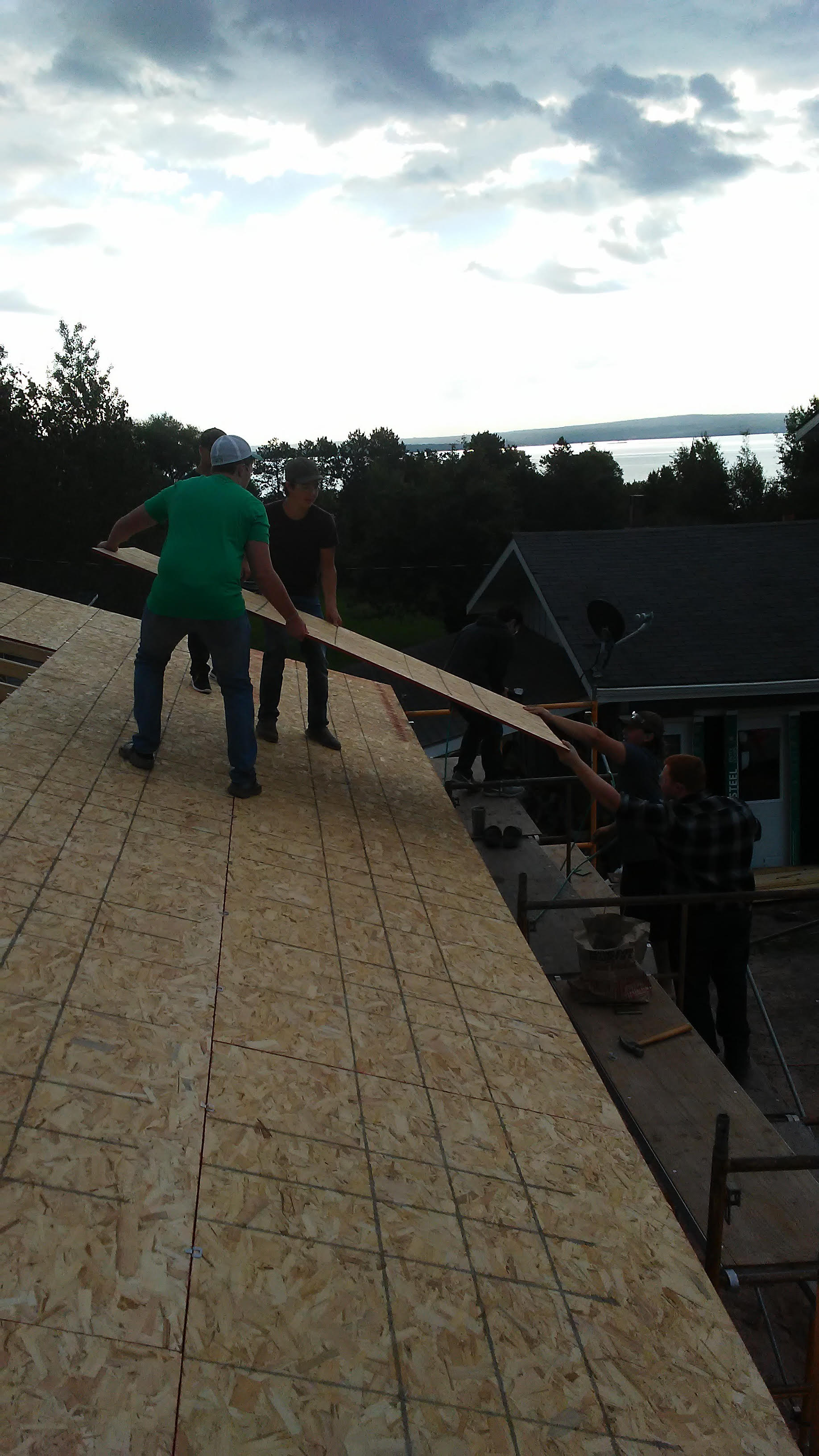 Garage roof panel placement