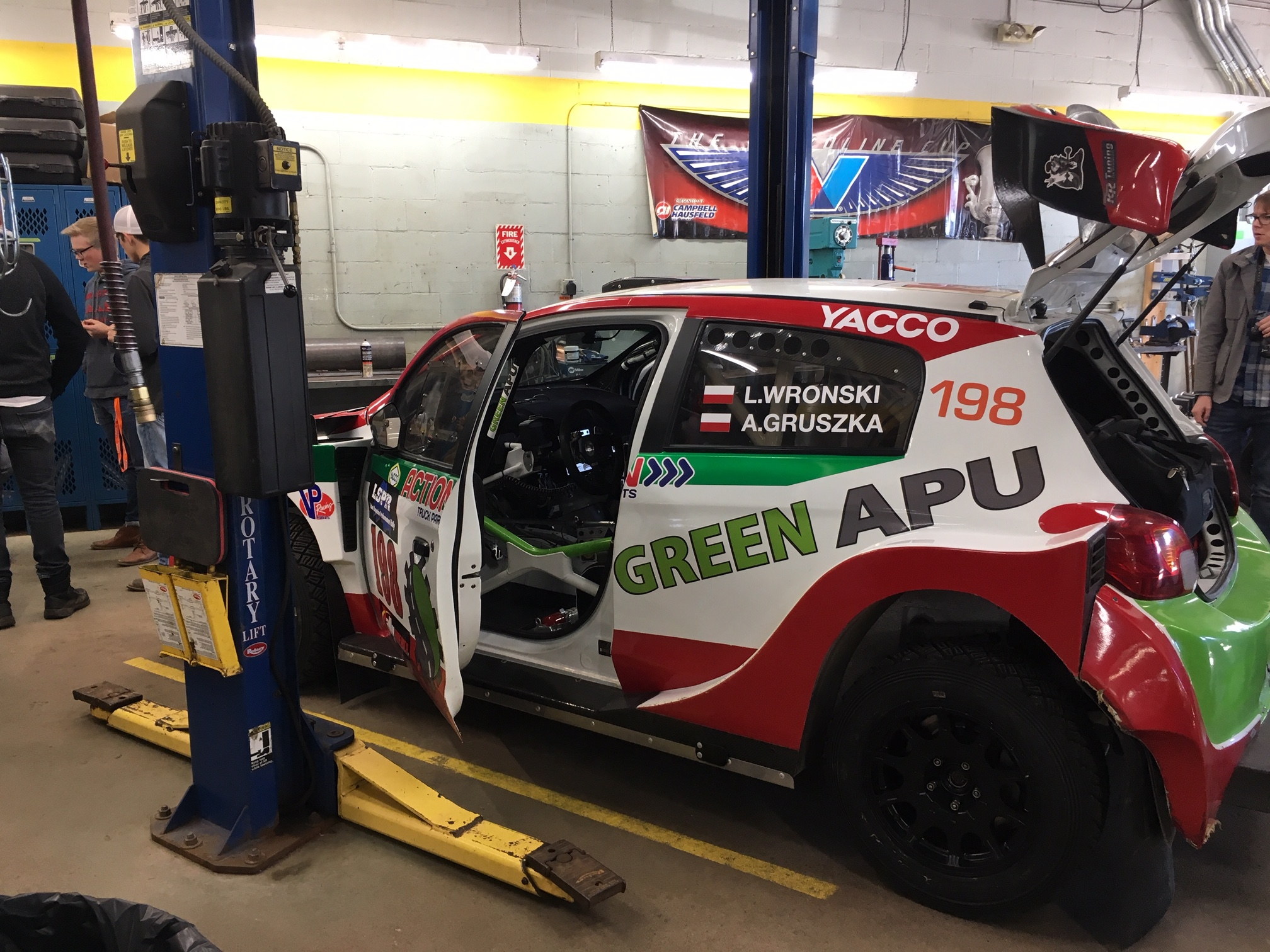 Rally car in for repair