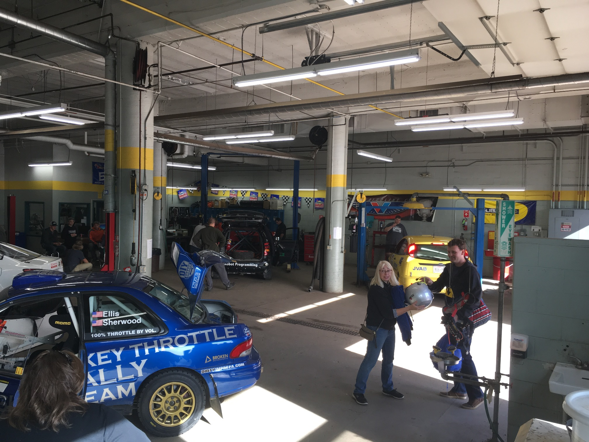 Rally cars in work-bay