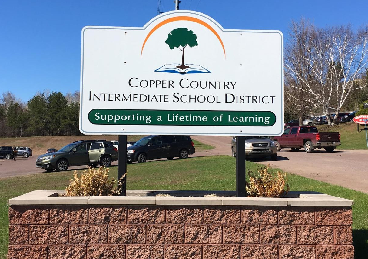 The Copper Country Intermediate School District sign.